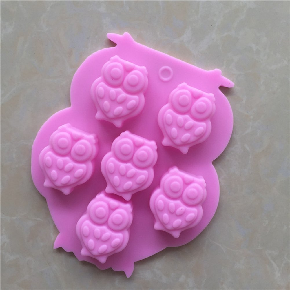 Outflower 6 Cavity Owl Fondant Silicone Cake Moulds Mooncake Mold Cupcake Chocolate Baking Tool