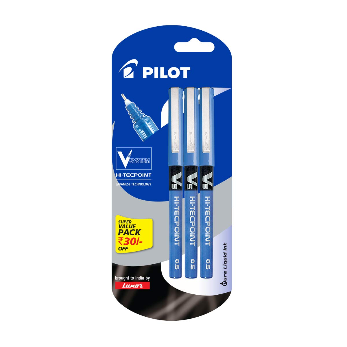 Pilot V5 Pen Liquid Ink Roller Ball Pen - Pack of 3, Blue product image