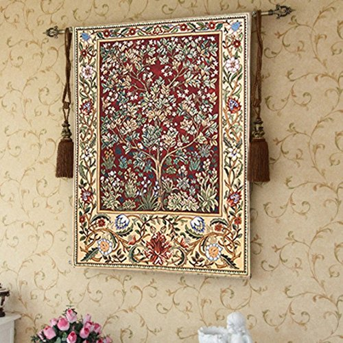 Tree of Life Red Large Wall Tapestry Home Decor with Free Tassels