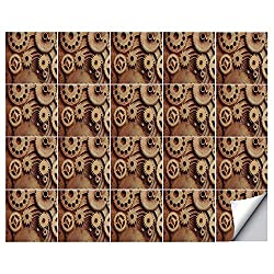 YOLIYANA Industrial Decor Strong Adhesion Ceramic Tile Stickers 20 Pieces,Inside The Clocks Theme Gears Mechanical Copper Device Steampunk Style Print for Living Room Kitchen,One Size