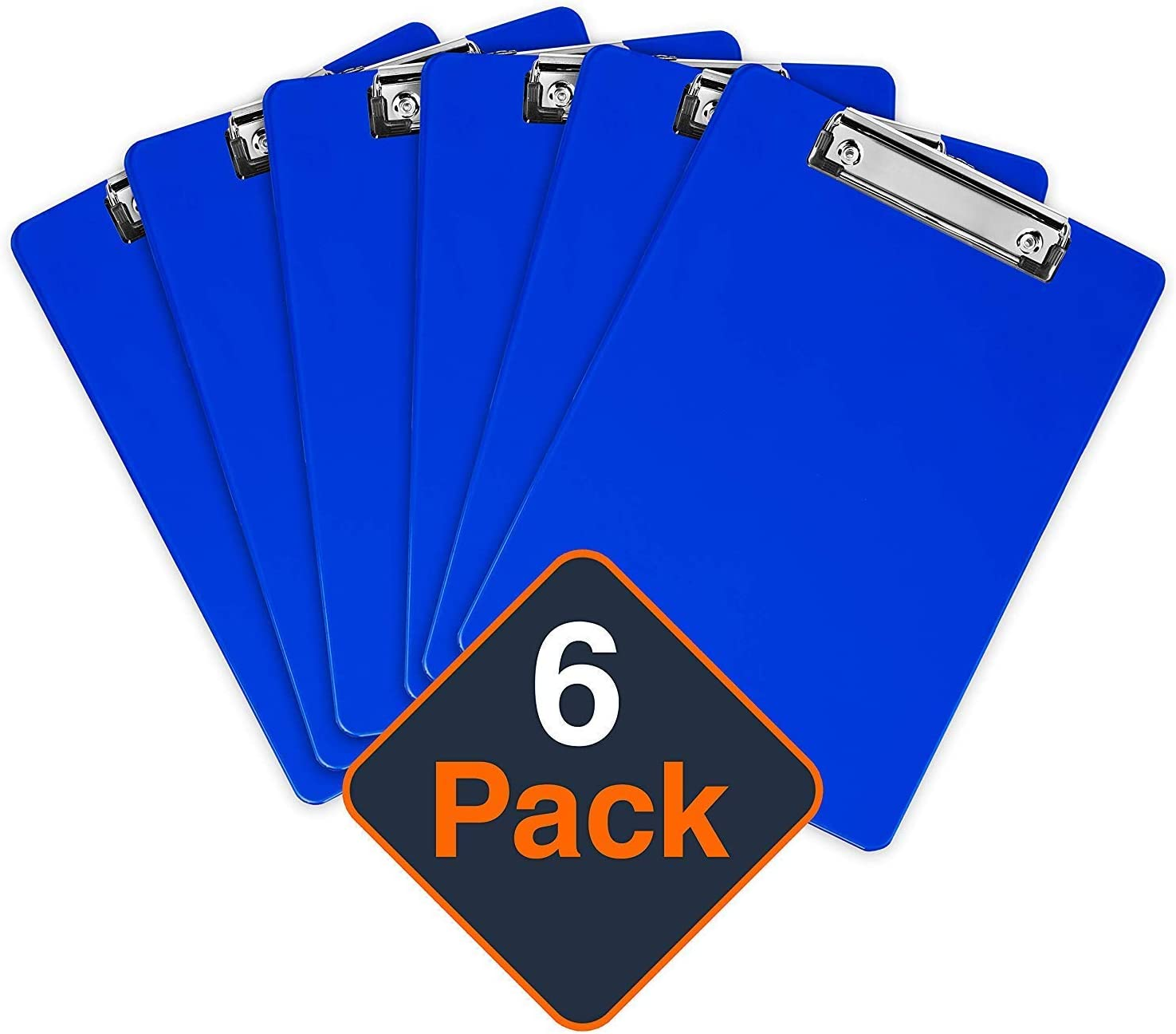 Plastic Clipboards (Set of 6) Multi Pack Clipboard (Blue) Strong 12.5 x 9 Inch | Holds 100 Sheets! Acrylic Clipboards with Low Profile Clip | Cute Clip Boards Board Clips