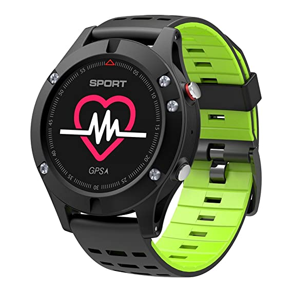 NO.1 F5 Smart Watch Android Heart Rate Monitor Smart Watch Waterproof GPS Watch Heart Rate Monitor Wristband Sport Smartwatch (Green)