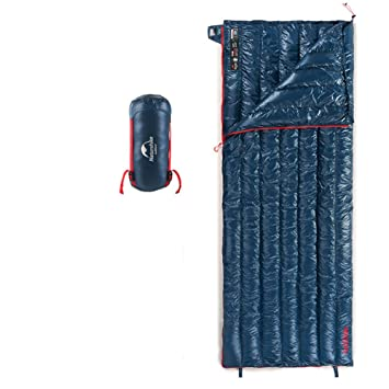 Tentock Súper Cálido compresión Ultraligero Ganso Abajo Envelope Saco de Dormir al Aire Libre con Cremallera para 3 Temporada Camping Senderismo(Azul): ...