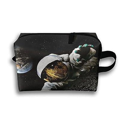 Travel Bag Astronaut On The Moon Cosmetic Bags Brush Pouch Portable Makeup Bag Zipper Wallet Hangbag Pen Organizer Carry Case Wristlet Holder