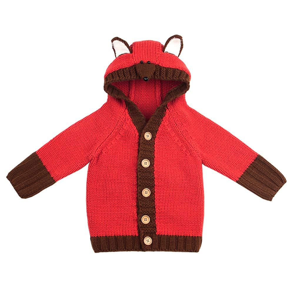 KONFA Toddler Baby Girls Boys Cartoon Fox Knitted Cardigan Hooded Sweater,Kids Long Sleeves Pullover Warm Tops Winter Clothes