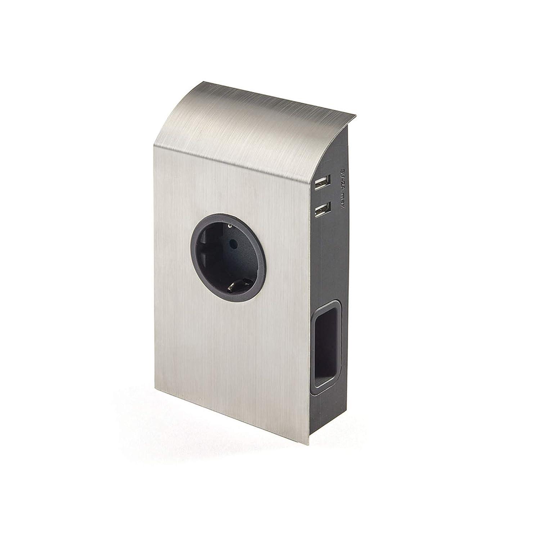 Presa Integrata Spine Presa Sotto-pensile Ciabatta di SO-TECH/® Finitura in Acciaio Inox incl 1 x presa Schuko // 2 x prese Euro // 2 x Porte USB