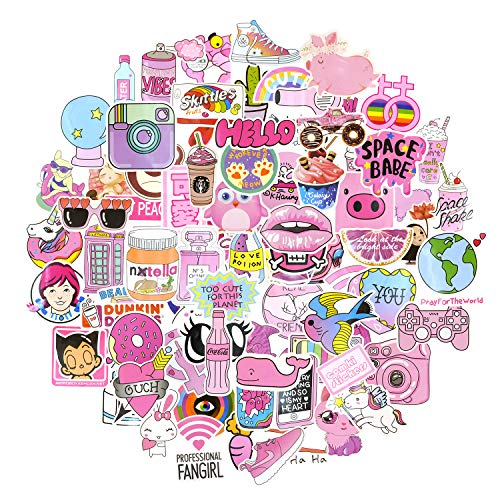 COMKI Cool Vinyls Graffiti Decoration Stickers (100pcs No-Duplicate),Pink Color Series for Girls' Laptops,Books,Desktop,PC,Skateboards,Luggage,Cars,Bumpers,Bikes,Bicycles(Collection_Pink World)