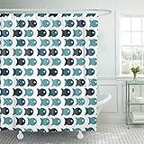 Emvency Shower Curtain 72''x72'' Blue Animal Fish Design Pillows Bags Green Aquarium Aquatic Bright Cartoon Childish Waterproof Polyester Fabric Adjustable Hook
