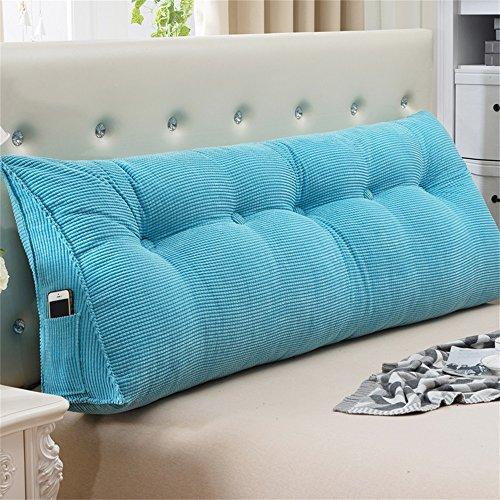 MEHE@ 3D Mode Stilvoll Persönlichkeit kreativ Sofa Bettseite Büro Große Triangle Kissen Taillenschutz Nackenschutz Lendenkissen Rückenkissen ( farbe : Blau , größe : 22*50*100cm(3 Buckle) )