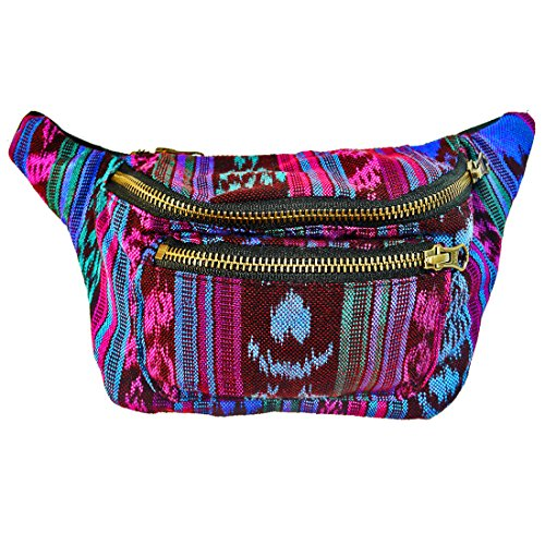 Hot Ticket Halloween Costume (Native Tribal Fanny Pack, Boho Chic, Eco Woven & Handmade in Guatemala by Santa Playa (Tropical Blue))