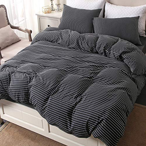 PURE ERA Striped Cotton Jersey Knit Duvet Cover Set Ultra Soft Comfy Zippered Luxury Bedding Sets with Corner Ties - Black White Queen ()