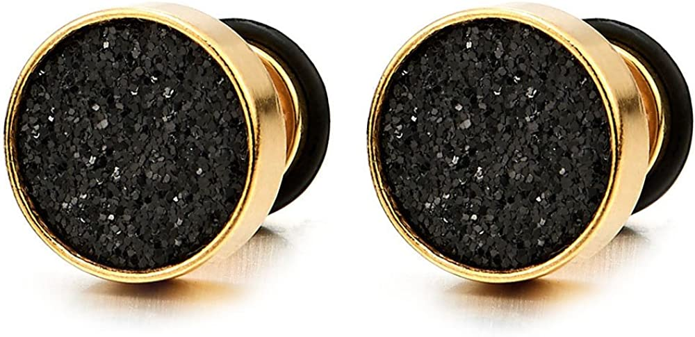 6-10mm Mens Women Gold Stud Earrings Steel Illusion Tunnel Plug Screw Back with Black Sand Glitter