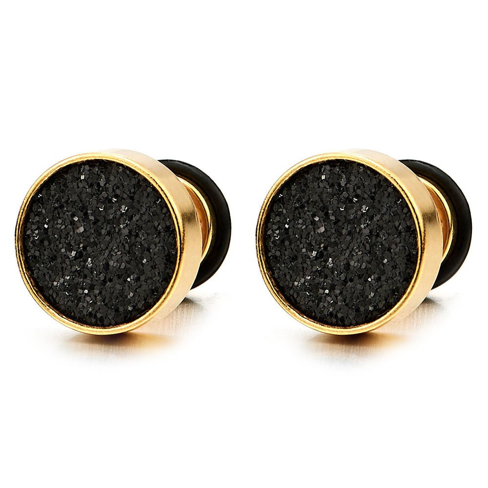 2 Gold Herren Damen Ohrringe Edelstahl Ohrstecker Fakeplugs Fake Plug Tunnel Ohr-Piercing 10MM COOLSTEELANDBEYOND ME-664