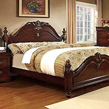 mandura english style cherry finish queen size bed frame set