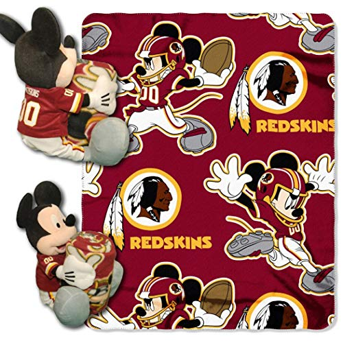 - 2 Piece NFL Redskins Throw Blanket Full Set With Disney Mickey Mouse Character Shaped Pillow, Sports Patterned Bedding Team Logo Fan Maroon, Gold, White, Polyester