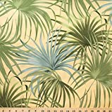 "Paradise Palms 100% Cotton Fabric Designer Print by Robert Kaufman Green Tropical Palm Fronds 45"" Width ℳ - Sold by the Yard"