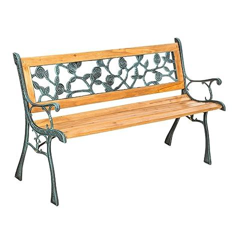 Panchine Da Giardino In Metallo.Tectake Panchina In Metallo E Legno Panca Da Giardino Con Schienale