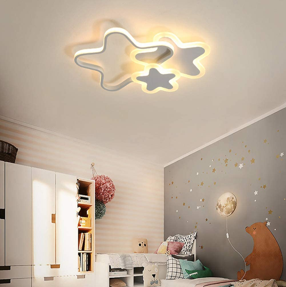 Lámpara de techo LED Infantil Cuarto Decor Blanco Luz de Techo Moderno Regulable Con mando a distancia Niña y niño Habitación Luces Estrellas Nubes Diseño para Salon Sala Jardín de infancia Lamparas