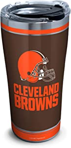 Tervis NFL Cleveland Browns - Touchdown Stainless Steel Insulated Tumbler with Clear and Black Hammer Lid, 20 oz, Silver