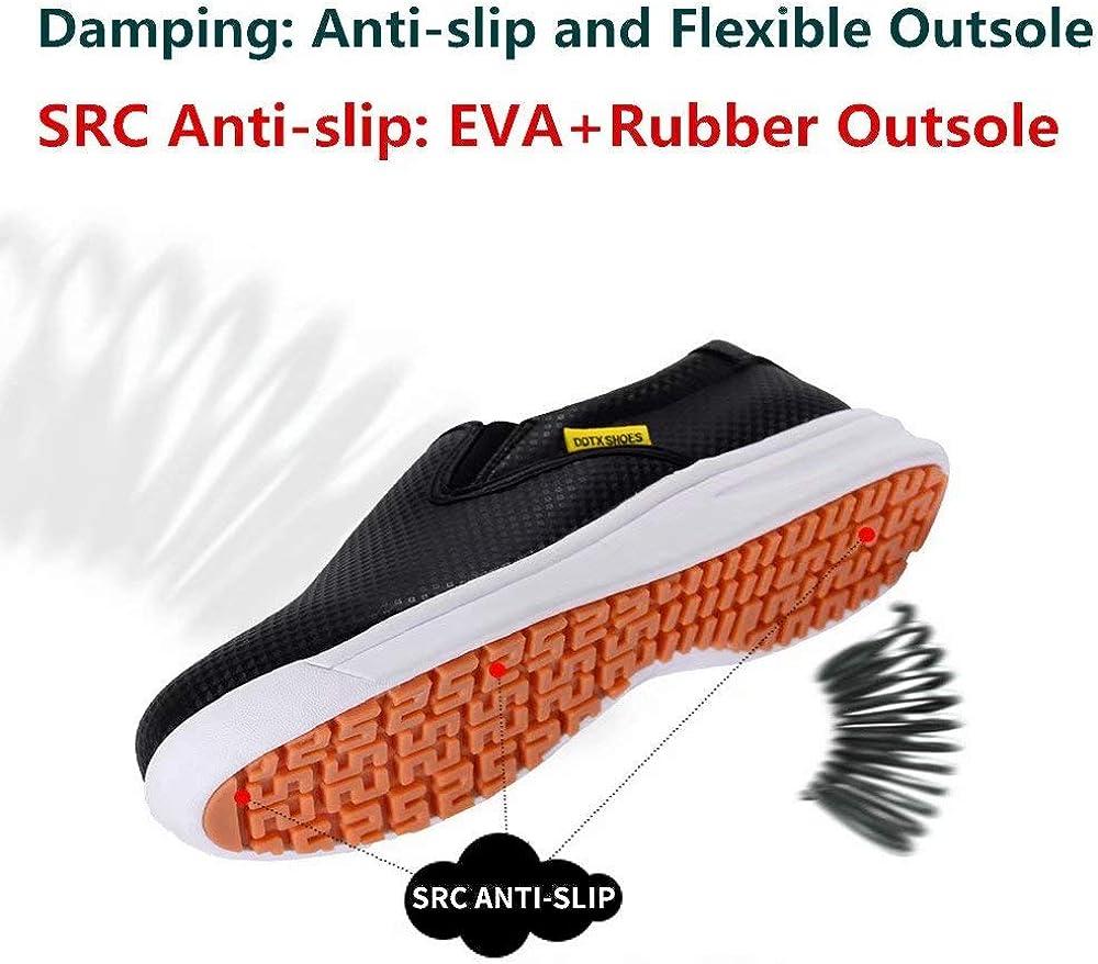 DDTX Scarpe da Cucina SRC Antiscivolo per Uomo e Lavoro Resistente allAcqua Bianco/&Nero 38-47EU