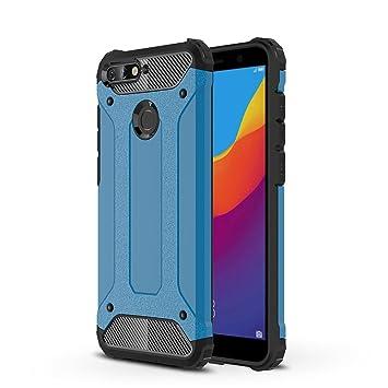 HUUH Funda Huawei Y6 2018/Honor 7A, Carcasa Funda de teléfono, Mano de Obra Exquisita,combinación TPU + PC,Protección teléfonos móviles(Azul)