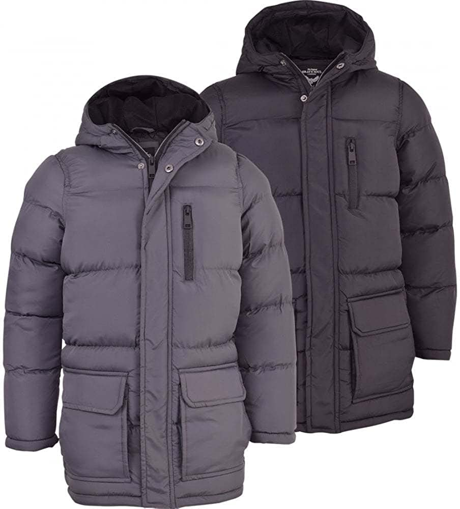 Black Blue 52/_DNM Childrens Boys Winter Parka Coat Fur Borg Lined Hood School Jacket