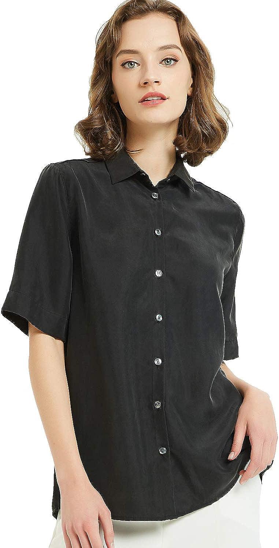 Women's 100% Silk V Neck Button Down Blouse Short Sleeve Ladies Office Work Shirts Tops