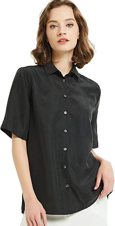 Women's 100% Silk V-Neck Button Down Blouse Short Sleeve Ladies Office Work Shirts  Tops at Amazon Women's Clothing store