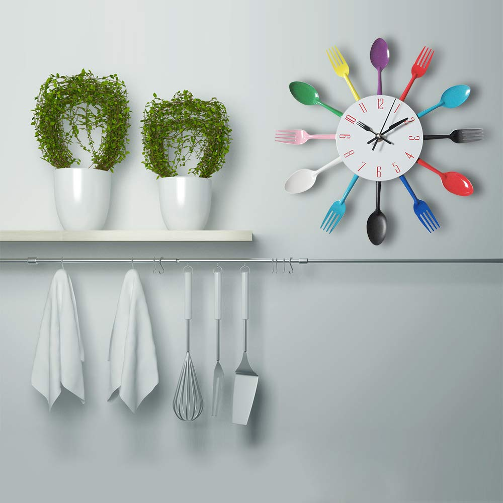 Amazon.com: CHTOP Cutlery Metal Kitchen Wall Clock - Spoon Fork Creative Quartz Wall Mounted Clocks - Modern Design Decorative Horloge Murale (Colorful): ...