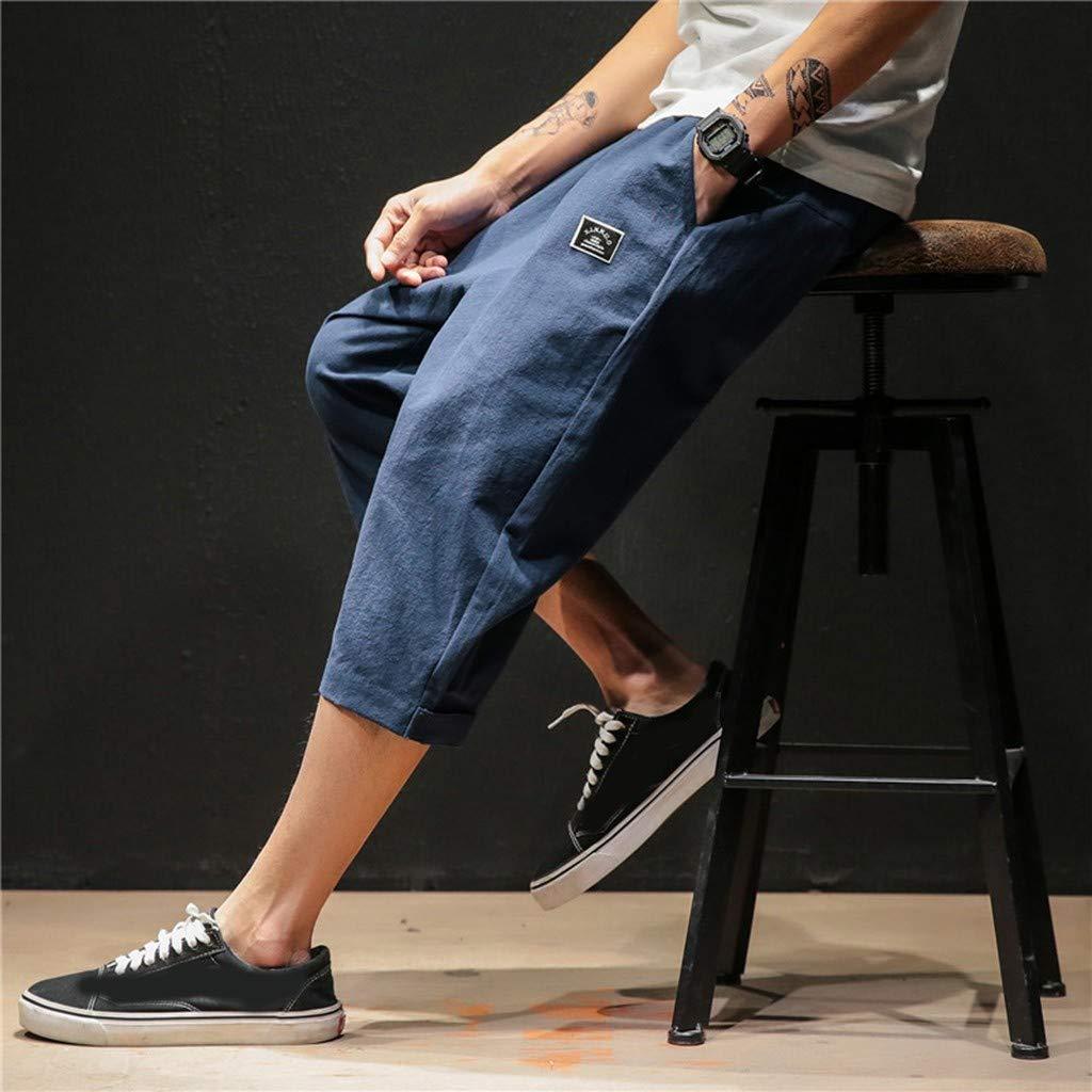 Pants /Ét/é Hommes Pantalon Confortable /À La Mode Nouveau Style Couleur Pure Chanvre Coton Pantalon