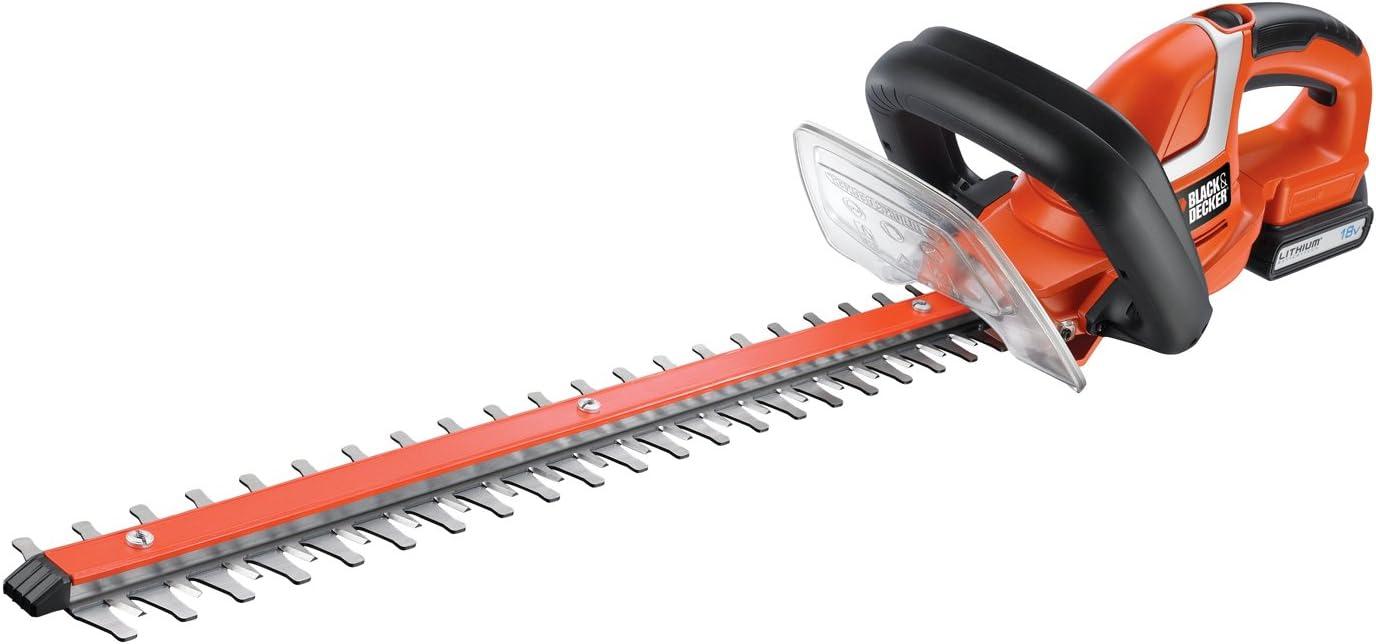 Black+Decker GTC1845L-QW Cortasetos 18V 1.5Ah Litio, Longitud Espada 45cm, separación Entre Dientes 18mm, 18 V