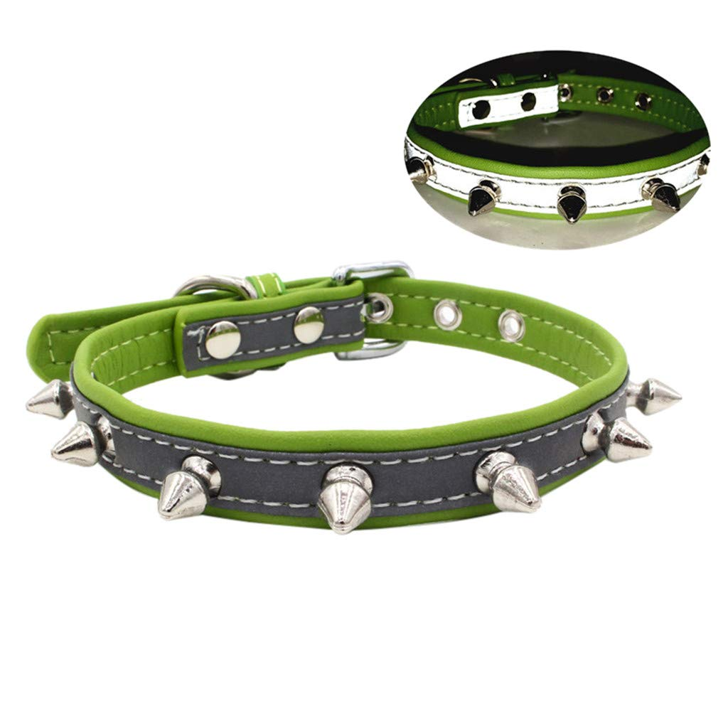 Exquisite Adjustable Reflective Rivet Dog Puppy Pet Collars for Cats Puppy Small Medium Dogs (Green, XS)