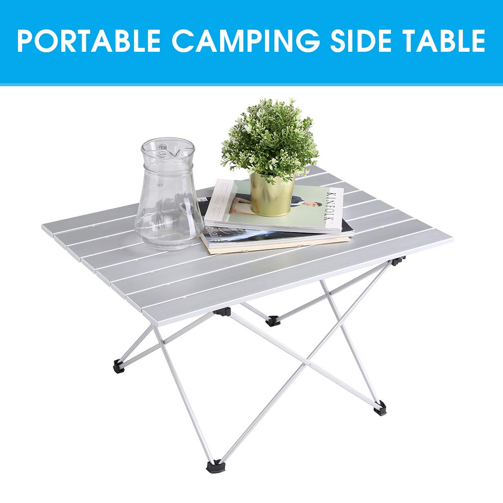 Aluminum Folding Camping Table 3 Size Lightweight Picnic Table with Carry Bag for Hiking Portable Compact Roll Up Camp Table Fishing and Travel- M BBQ