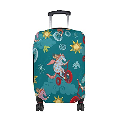 Cute Cartoon Horse Pattern Print Travel Luggage Protector Baggage Suitcase Cover Fits 18-20 Inch Luggage