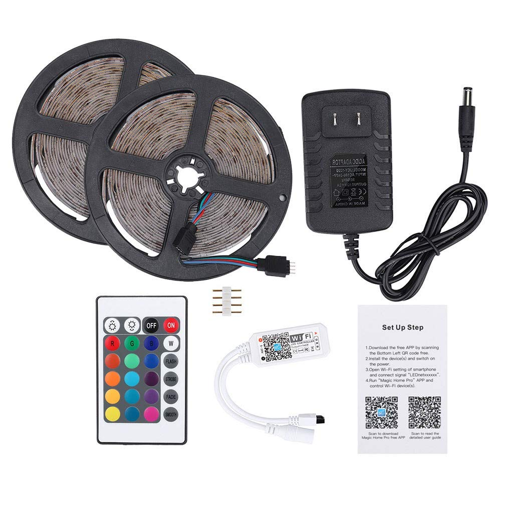 1KTon LED Strip Lights 10M 600 LEDs 2835 RGB Strip Lights IP60 Waterproof Rope Lights Color Changing Flexible Tape Light Kit with WIFI Controller,12V 2A Power Supply,Driver by 1KTon