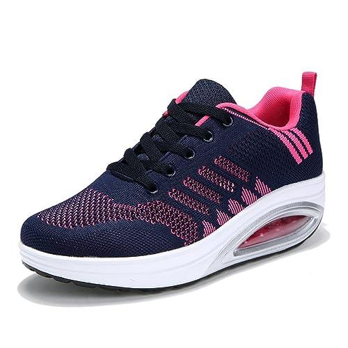 7ccdc721c57 Femme Chaussure Gothique pour Multisport Outdoor Basket Respirant Pied Large  Antichoc Sneakers Running Endurance Bleu Foncé
