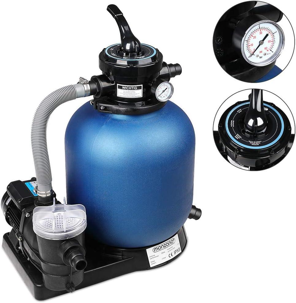 Monzana Pompe Filtre /à Sable 10.200 L//h avec pr/éfiltre Syst/ème de Filtration Eau Piscine