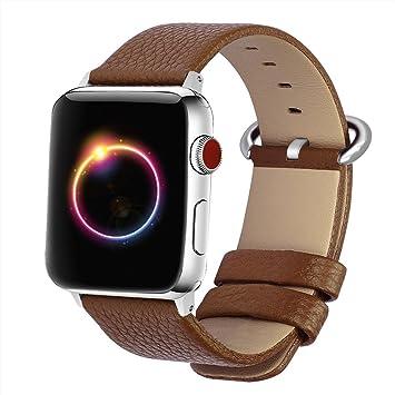 Bandmax Bracelet pour Apple Watch 38mm Wrist Strap en Cuir de Véritable avec Fermoir Métallique pour