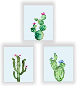 Barri Design Cacti Prints,Cactus Decor, Botanical Prints Cactus Wall Art Watercolor Cactus Art, Modern Prints, Set of 3 Cactus Wall Decor (UNFRAMED)