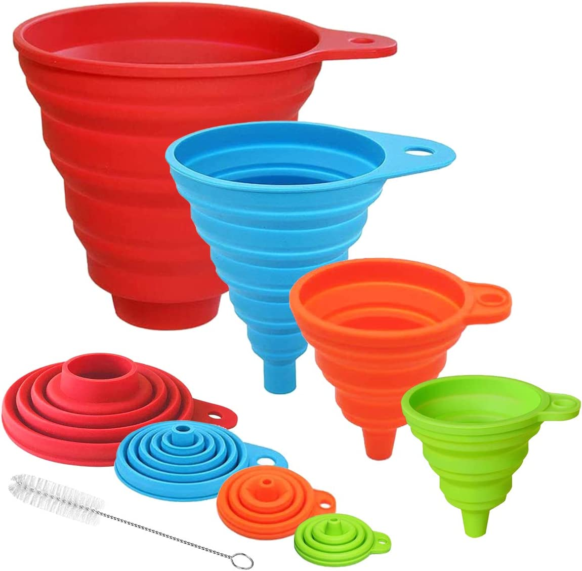 4Pcs Kitchen Funnels for Filling Bottles Canning, Food Grade Silicone Collapsible Funnel Set, Large Funnel for Wide Mouth Jar, Small/Mini Funnel for Transfer Oil Powder