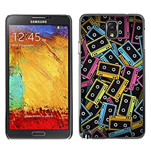 TECHCASE**Cubierta de la caja de protección la piel dura para el ** Samsung Galaxy Note 3 N9000 N9002 N9005 ** Cassette Tapes Neon Colorful 90S Music Art