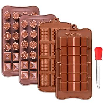 CKANDAY 4 Paquete moldes Barras Chocolate, con 1 goteros para líquidos graduados, 3 Estilo