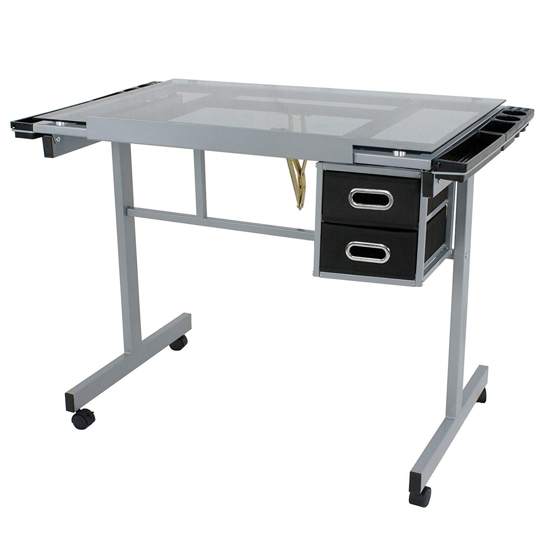 HomGarden Adjustable Drafting Drawing Table Desk Tempered Rolling Glass Top Art Craft Station Desk w/2 Slide Drawers and Castors by HomGarden (Image #7)