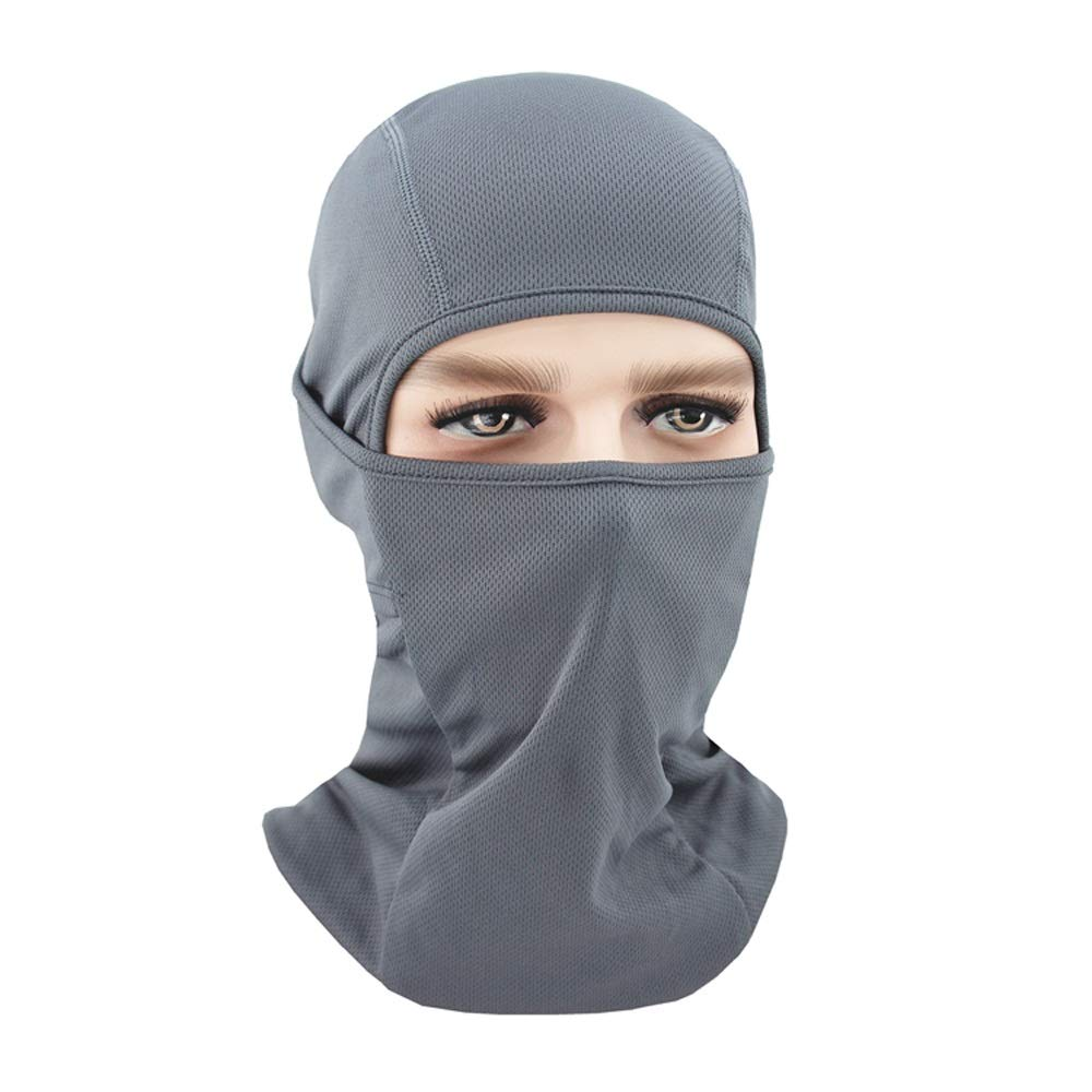 WSYHXMMask Summer Sunscreen Hood Outdoor Riding Men and Women Ice Silk Full Face Fishing Anti-UV Wind and Dustproof Sunscreen Mask Gini Outdoor Balaclava mask (Color : Gray)