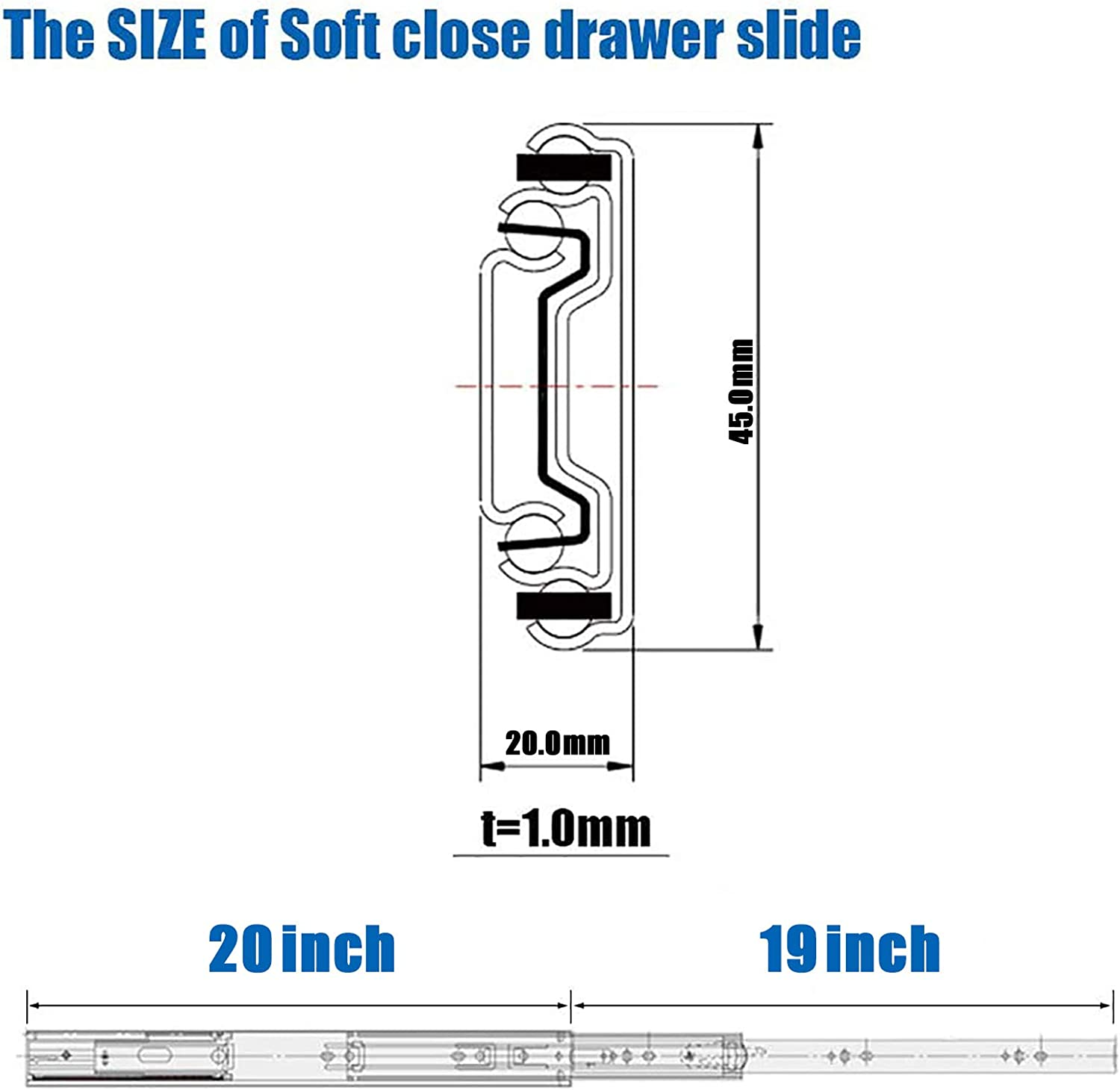 Draw Sliders Heavy Duty 45kg 1 Pair GLANZHAUS 20 inch 500MM Metal Ball Bearing Soft Close Drawer Runners 3-Section Fold Extension