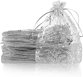 Lauren 100pcs Organza Bags Snowflake Sheer Organza Drawstring Pouches Gift Bags White Color 3.5x4.