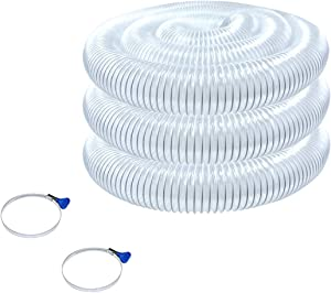 POWERTEC 70243 Heavy Duty 2-1/2-Inch x 20-Foot Flexible PVC Dust Collection Hose with 2 Key Hose Clamps, Clear Color