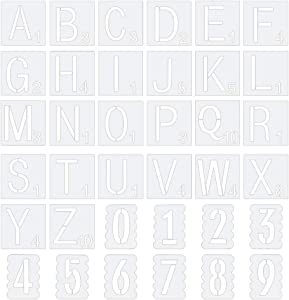 """PH PandaHall 72 Sheets Scrabble Letters Stencil Letter A~Z & Number 0~9 Drawing Stencil Drawing Scale Template Tile Stencils for Wall Decor Painting Signs DIY Projects Art & Craft (3"""" & 4"""")"""