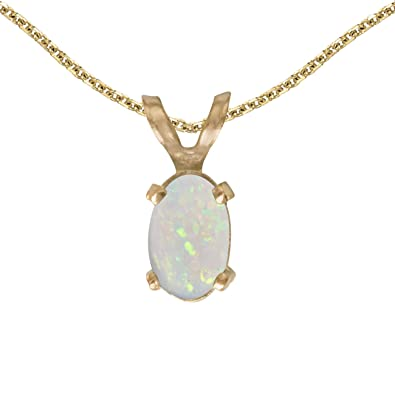 Amazon 14k yellow gold oval opal pendant with 18 chain 14k yellow gold oval opal pendant with 18quot mozeypictures Gallery