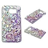 KAKA(TM) Fashion Style Butterfly Rabbit Ears Pattern 3D Handmade Purple Pink Rhinestone Bling Crystal Pearl Rose Flower Transparent Case Cover Clear Hard Case for Samsung Galaxy Note 5